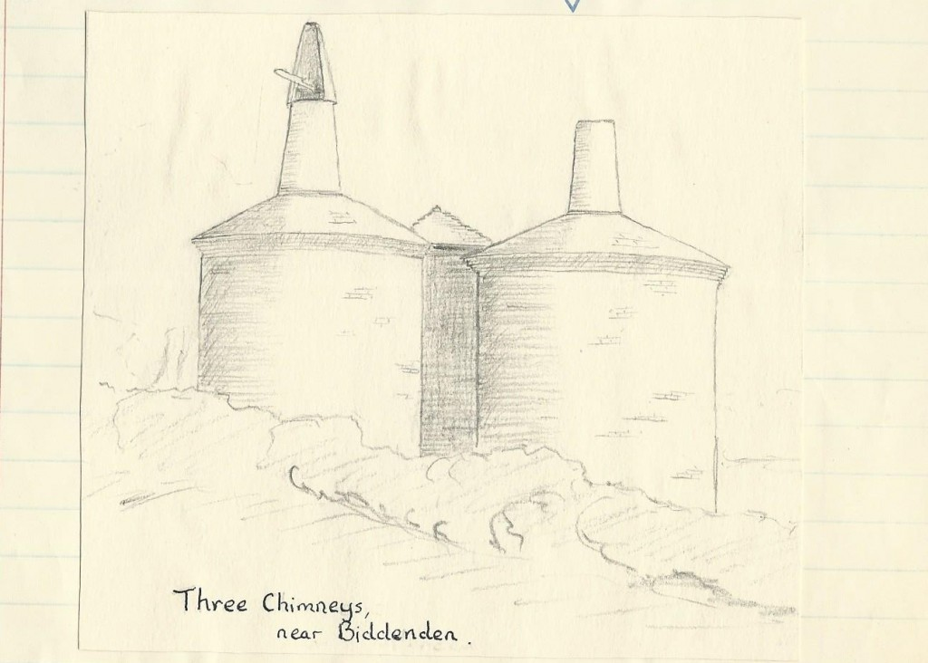 Three chimneys drawing
