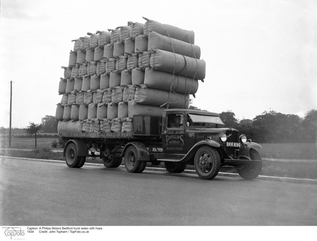 A Philips Motors Bedford truck laden with hops. 1934
